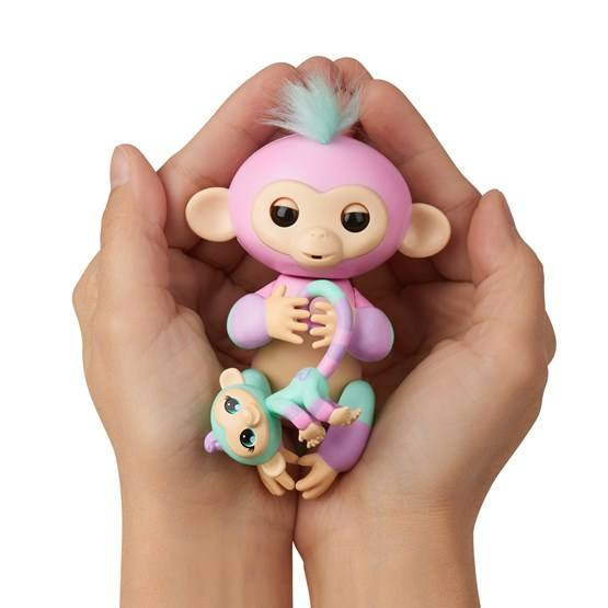 Fingerlings colorblock med miniapa gr n rosa hem for Mobilia 3 butik